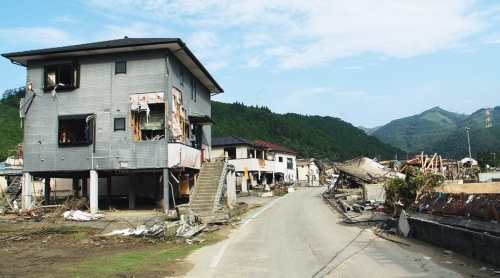 茶屋集落の水害後(写真:日経ホームビルダー)