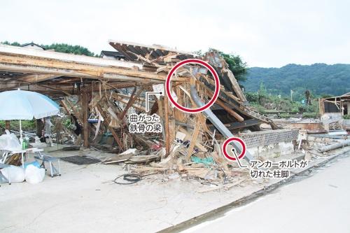 〔写真2〕老朽家屋が流される