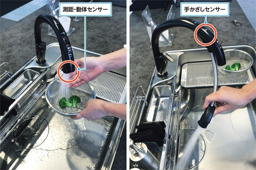 〔写真1〕キッチン向けのタッチレス水栓の需要が拡大