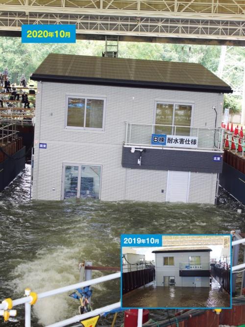 〔写真2〕浸水深1.4mで浮き始めた