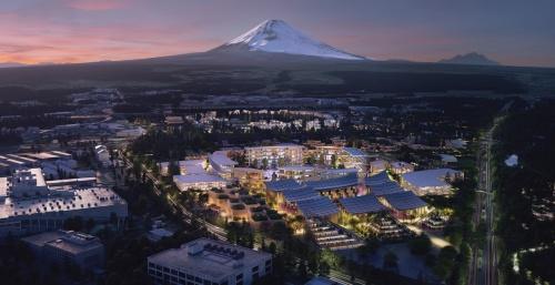 東側上空から見たイメージ。敷地は、20年末に閉鎖予定の工場跡地を活用する(資料:トヨタ自動車)