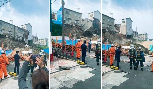 〔写真1〕崩落の様子を住民が崖下から撮影