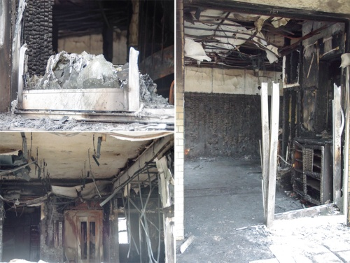 〔写真3〕建物内部は激しく燃焼