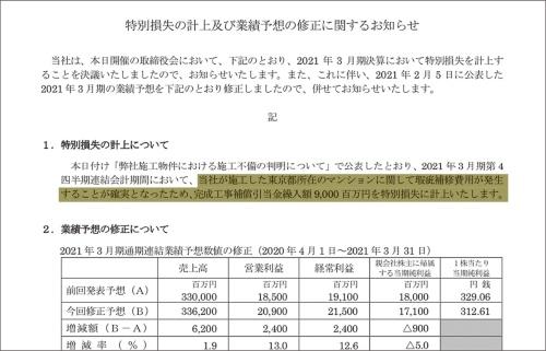 〔図1〕当期純利益の予想を9億円下方修正