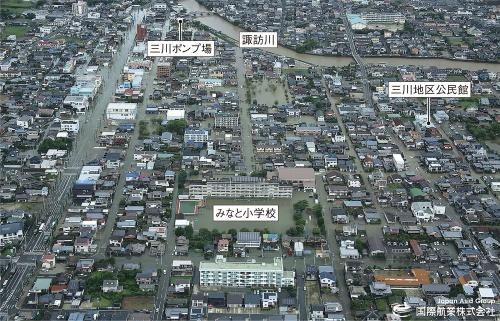 〔写真1〕市街地の広範囲が浸水し2人死亡