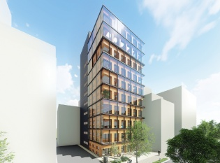 大林組が設計・施工を手掛ける高層純木造耐火ビルの完成予想図。2022年3月の完成予定だ(資料:大林組)