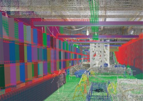 〔図1〕施工が完了した部位を色分けして表示