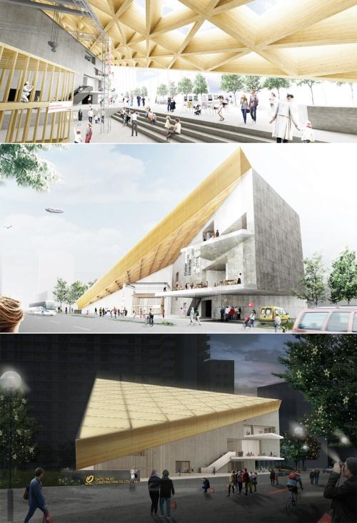 〔図1〕CLTの大屋根を架ける大東建託の展示場