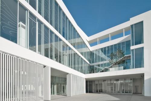 中庭まわり。写真左手が見学者向けのエントランス。見学は完全予約制で、1回90分と120分のコースを用意している。写真右手2階、シンボルツリーを中心に植栽した屋外スペースは「ワイガヤテラス」で、同階の執務室からも緑が見える平面構成とした。ガラス面のグラフィックは空気の流れを可視化したもの(写真:生田 将人)