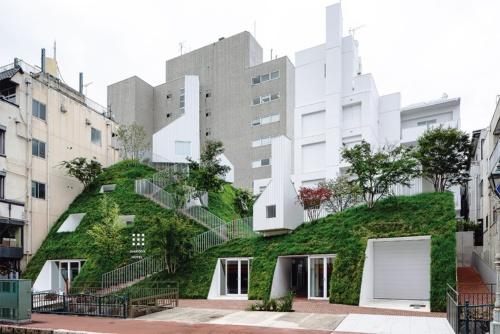 利根川の旧河川の土手をイメージしてつくった、白井屋ホテルの新築棟「グリーンタワー」。人工の「緑の丘」にギャラリーやサウナの白い小屋が点在する。客室は丘の内部に埋め込んだ(写真:Shinya Kigure)