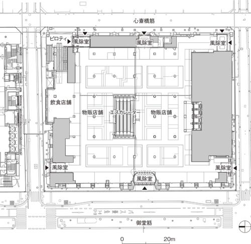 配置・1階平面図。旧本館は4期でいったん完成するが、その後も増築を繰り返した。オリジナル部分を保存(資料:日建設計)