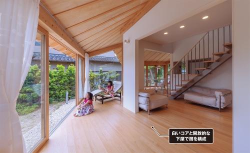 〔写真3〕閉じたコアから家の外まで複数の層を成す空間構成