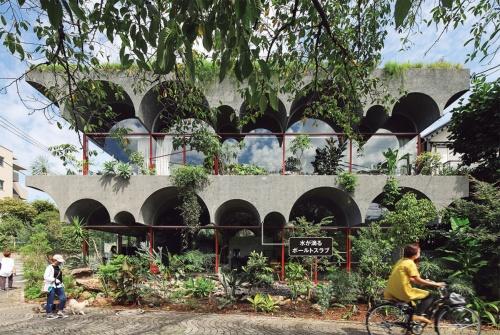 〔写真1〕経年とともに植物で覆われる構成