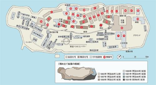 〔図2〕計6回の埋め立てで島を拡張