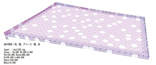 〔図1〕約80m×50mの鉄板屋根を架けた無柱空間
