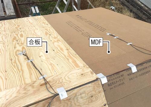 試験棟の野地板。西側半分は新工法で用いるMDF、東側半分は合板を施工した(写真:神清)