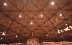 中央電気通信学園講堂、現NTT中央研修センタ講堂で、1956年に完成。米国の建築家バックミンスター・フラーがモックアップ実験時と完成時に訪れた(写真:藤森 照信)