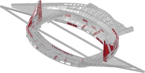 下部構造の立体モデル。赤色が補強箇所。主塔や地下1・2階のスタンド部を中心に耐震壁の新設や増し打ち補強などを実施した。さらに下図に示す杭の新設も行った(資料:丹下都市建築設計・久米設計JV)