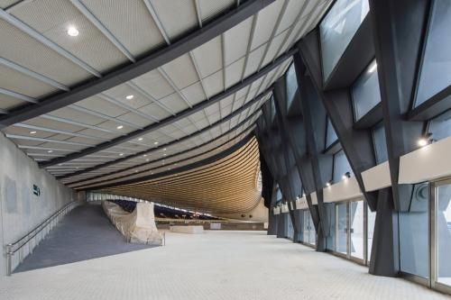 〔写真4〕湾曲する吊り鉄骨による屋根構造を補強
