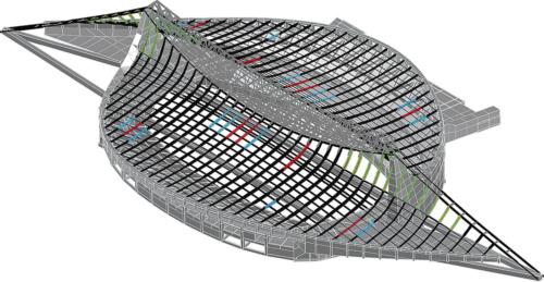 補強箇所を記した屋根の立体モデル。フランジのプレート補強2種類と座屈補強の計3種類の方法で補強した。モデルの色分けは、右上と左の図面に示した各補強箇所の色と対応している(資料:丹下都市建築設計・久米設計JV)