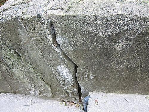 〔写真2〕敷地の境界ブロックにもクラック