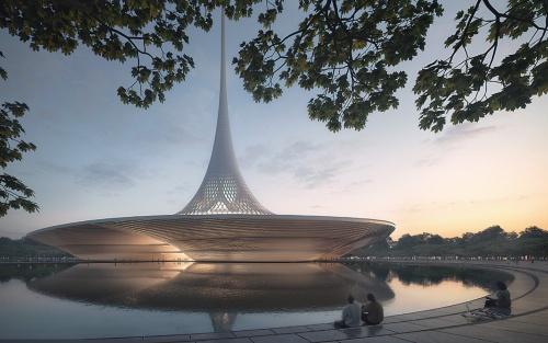 〔図2〕象徴的な「尖塔」を兼ねる屋根