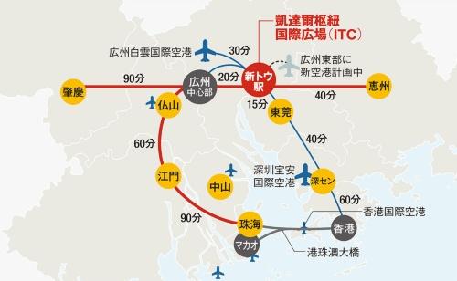 〔図3〕ITCから主要都市や空港へは1時間内