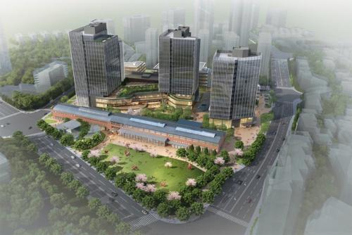 完成イメージ。地下3階、地上18建ての高層棟は最高高さ約92m。商業施設とオフィスの複合施設だ(資料:三菱地所設計)