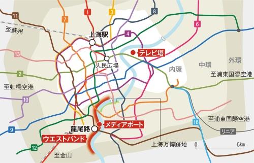 〔図1〕上海市内を縦横無尽に走る地下鉄網
