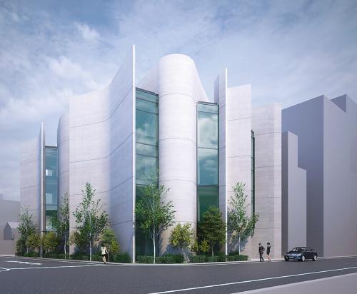 現在、施工中のオフィスビルのCG。RC造の地上4階建て、延べ面積約2000m<sup>2</sup>。コンピュテーショナルデザインによる光環境などの検討を基に曲面状の壁で構成する建物を導き出した。2020年2月完成予定(資料:竹中工務店)