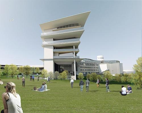 ダイキン工業の研修施設の増築計画のCG。コンピュテーショナルデザインを取り入れ、風や地形といった外部環境から建築のプロポーションを検討し、ダイナミックな曲線の形態を決めていった(資料:竹中工務店)