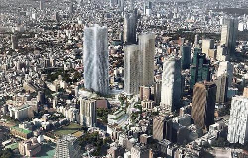 虎ノ門・麻布台地区の再開発事業の完成イメージ。清水建設は高さ330mの超高層ビルの受注に向けて、地下工法やコンクリートの圧送、外装材などに関して技術開発を進めた(資料:森ビル)