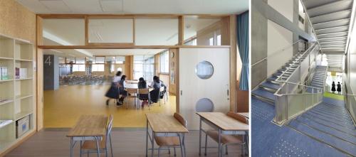 〔写真1〕クロスする階段の縦動線を校舎の軸に
