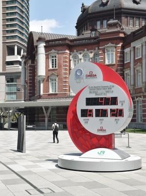 緊急事態宣言発令の翌日、4月8日のJR東京駅前は閑散としていた。手前は東京五輪のカウントダウン時計。3月24日に2021年夏への大会延期が決まり、カウントダウンはやり直しとなった(写真:日経アーキテクチュア)