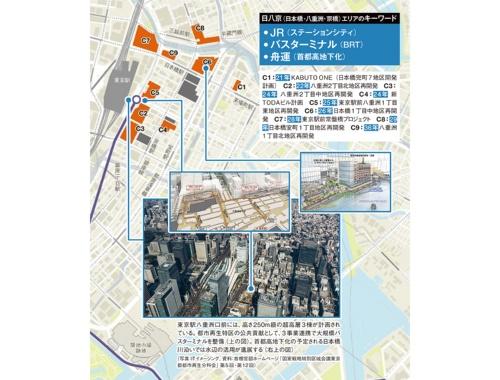 東京駅八重洲口前には、高さ250m級の超高層3棟が計画されている。都市再生特区の公共貢献として、3事業連携で大規模バスターミナルを整備(上の図)。首都高地下化の予定される日本橋川沿いでは水辺の活用が進展する(右上の図)(写真:ITイメージング、資料:首相官邸ホームページ「国家戦略特別区域会議東京都都市再生分科会」第5回・第12回)(地図制作:ユニオンマップ)
