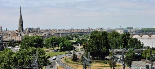 〔写真2〕屋上テラスから見たボルドー市街とガロンヌ川の風景(写真:武藤 聖一)