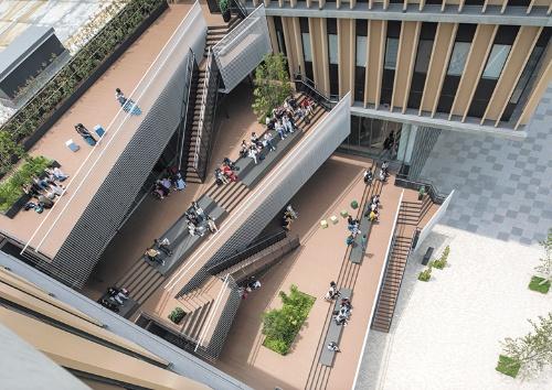 建物の内外をつなぐステップテラスなどは、地域の人々を含めた皆の居場所として重要な役割を担う(写真:エスエス)