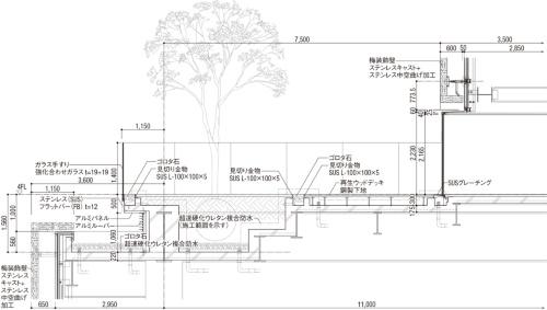 4階屋外デッキ断面詳細図(資料:三菱地所設計)