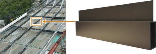 シートを積層して成形したCFRPの梁を、大成建設技術センター内の建物に用いた。長さ23mの梁を10本、19mの梁を5本使用した(写真:2点とも日経アーキテクチュア)