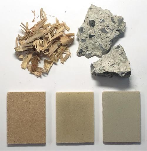 〔写真1〕材料はがれきと廃木材、水だけ