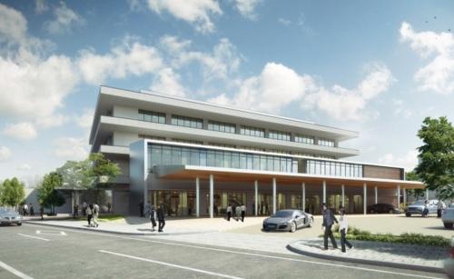 宇土市新庁舎の完成イメージ。久米設計九州支社と桜樹会・古川建築事務所(熊本市)が設計を手掛ける
