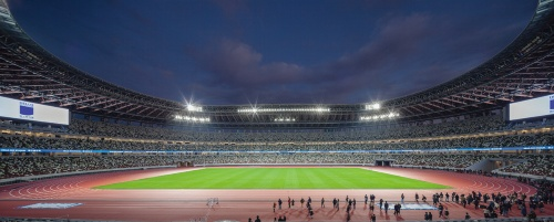 約1500台のLED照明で明るく照らされた国立競技場のフィールド。全天候型トラックは合成のゴム製で400m×9レーン。芝生は天然芝で、完成の約2年前から圃場で育成してきた。南北の大型スクリーンと、2層目スタンドの先端にあるリボンボードに映像を流し、スポーツやイベントを盛り上げる(写真:吉田 誠)