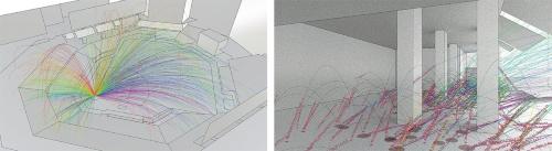 飛球経路のシミュレーション例。左は、検証した全データの10%程度を表示したものだ。右はネットがない場合の壁や床への影響を調査したデータ。バウンドしたボールも含めて検証した(資料:2点ともアラップ)