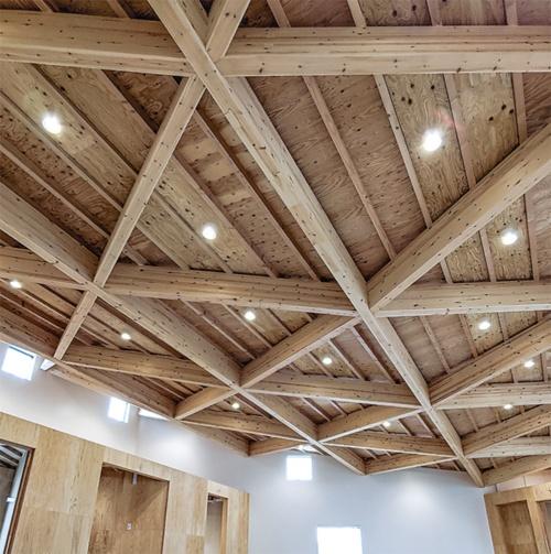 〔写真3〕木構造現しのトレーニングルーム