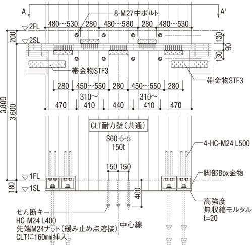 CLT耐力壁詳細図