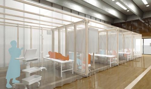 〔図1〕臨時の病室や診療室をブースで確保