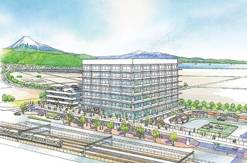 静岡市は5月、コロナ対策に注力するため、庁舎移転(上図)など3つの建設事業を停止した(資料:静岡市)