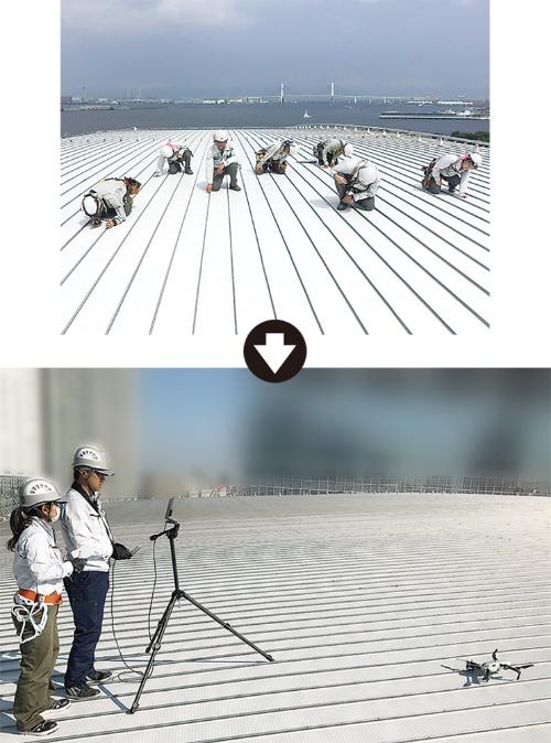 上は従来の検査作業のイメージ。何人もの人員が屋根面にはいつくばる必要があった。下はドローン撮影の模様。作業者が大幅に減り、作業姿勢も一変した(写真:竹中工務店)