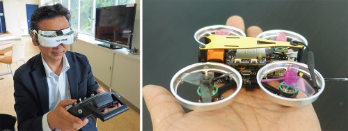 左は操作の模様。ヘッドマウントディスプレイを使う。右がマイクロドローン(写真:左は家入 龍太、右はアイ・ロボティクス)