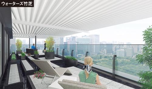 ウォーターズ竹芝のタワー棟にあるホテル「メズム東京、オートグラフ コレクション」の26階客室chapter4 Suite Luxeから浜離宮恩賜庭園を見る。設計段階の画像(資料:東日本旅客鉄道、JR東日本建築設計)